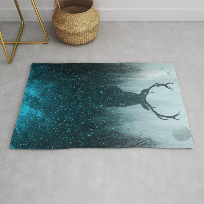 Snow Stag Silhouette Rug