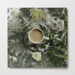 Flowers and Coffee Metal Print