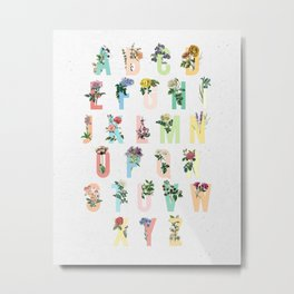 Botanical Alphabet Metal Print