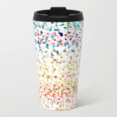 Striped Piled Dots Pattern Metal Travel Mug