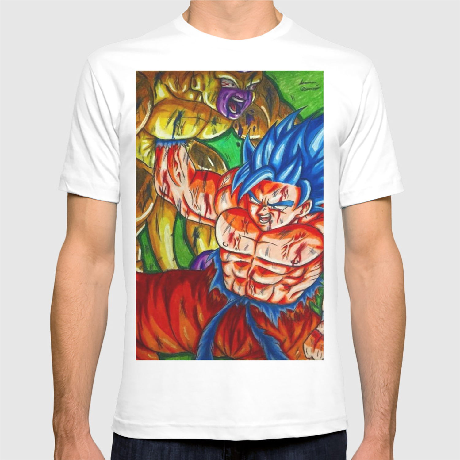 06562111 Ssb kaioken goku vs Golden frieza T-shirt by saquanarts | Society6