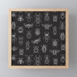 Insects Pattern (Black) Framed Mini Art Print