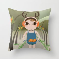 Deery Fairy and Oranges Throw Pillow