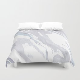 Navy Marble Waves Duvet Cover