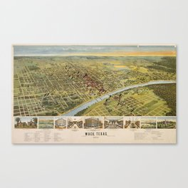 Vintage Pictorial Map of Waco Texas (1892) Canvas Print