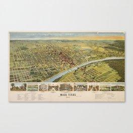 Vintage Pictorial Map of Waco Texas (1892) Canvas Print