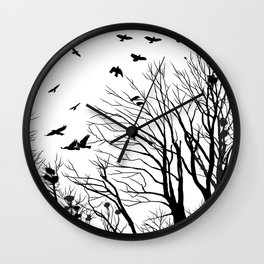 rooks and trees 1 Wall Clock