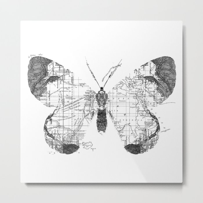 Butterfly Wanderlust Black and White Metal Print
