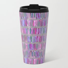 Messy Watercolor Stripes in Pink and Purple Travel Mug