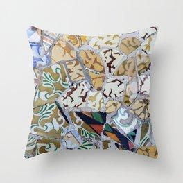 Park Güell detail of tiles Throw Pillow
