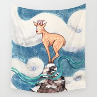 goat Wall Tapestries featuring Winter Goat by Timone