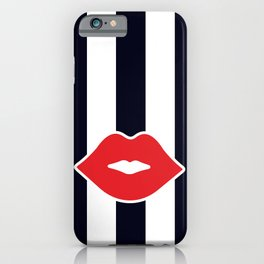Red Lips with Stripes iPhone Case