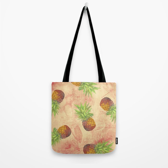 Retro Vintage Pineapple with Grunge Animals Background on #Society6 Tote Bag
