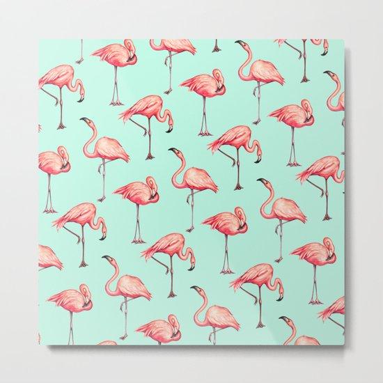 Flamingo Pattern - Blue Metal Print