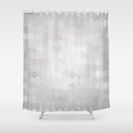 Metallic Silver Geometric Shower Curtain
