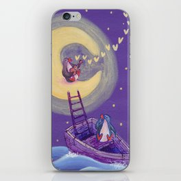 Penguin's Ladder Connects Boat to the Moon and the Singing Penguin iPhone Skin