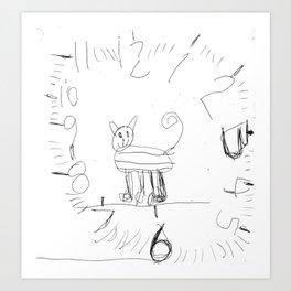 Cute Cat Clock by Ajax Bell, age 6 Art Print