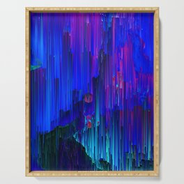 In the Midst - Abstract Glitchy Pixel Art Serving Tray