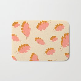 Fall pattern pink mustard oak leaves Bath Mat