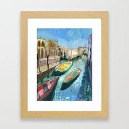 Three Boats Venice Framed Art Print
