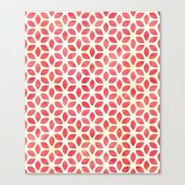 Watercolor Geometric Coral Red & Yellow Petal Pattern Canvas Print