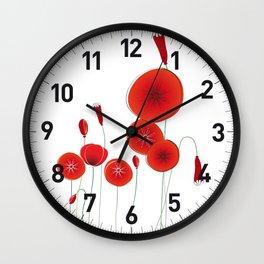 Flaming Poppies Wall Clock