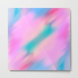 Abstract pink lilac teal watercolor brushstrokes Metal Print