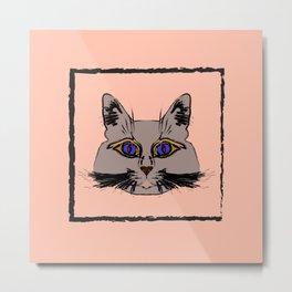 Cute gray cat. Muzzle cartoon cat in a box. Metal Print