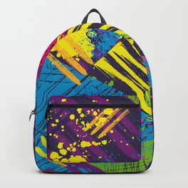 Abstract urban seamless pattern with grunge elements, spots and dots. Backpack