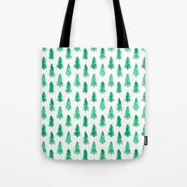 Watercolor Winter Evergreens - Christmas Trees Tote Bag