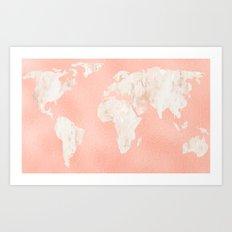 Pink Rose Gold World Map Art Print