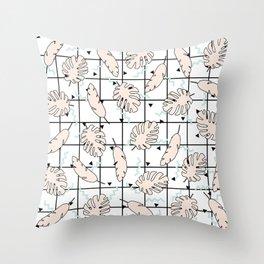 Funky Fresh Tropical Graphic 80's Memphis Grid Design Throw Pillow