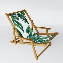 Classic Palm Leaves Tropical Jungle Green Sling Chair