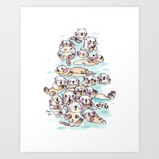 Wild family series - Otters Art Print