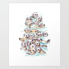 Wild family series - Otters Art Print