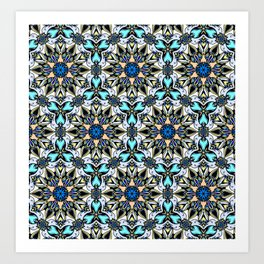Creamy and blue mandala pattern Art Print