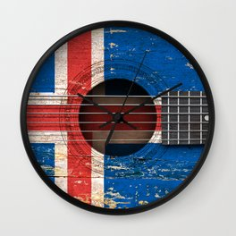 Old Vintage Acoustic Guitar with Icelandic Flag Wall Clock