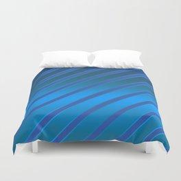 Oblique blue stripes on a blue satin background . Duvet Cover