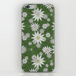 White Flowers on Green Background Pattern iPhone Skin