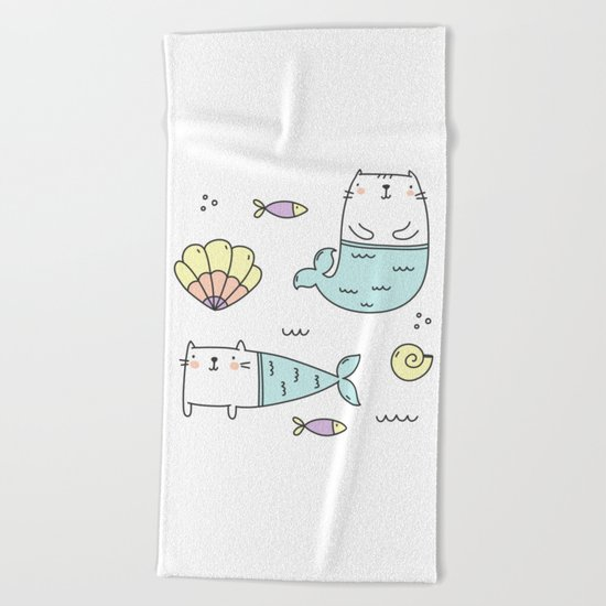 Ocean Merkitties Beach Towel