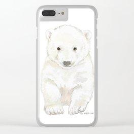 Polar Bear Cub Watercolor Painting Clear iPhone Case