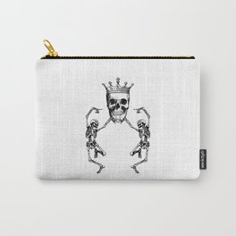 Skull King and Dancing Skeletons   Vintage Skulls   Vintage Skeletons   Black and White   Carry-All Pouch