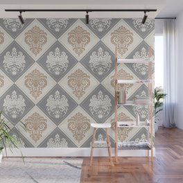 Royal Damask Pattern – Neutral Brown and Gray Earth Tones Wall Mural
