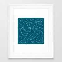 constellations Framed Art Prints featuring Constellations by Ashley Hay