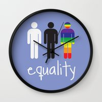 equality Wall Clocks featuring Equality pride by Tony Vazquez