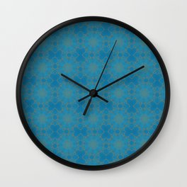Gold Lace on Blue Wall Clock