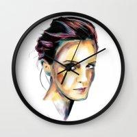 emma watson Wall Clocks featuring Emma Watson by caffeboy