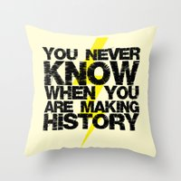 history Throw Pillows featuring HISTORY by Silvio Ledbetter