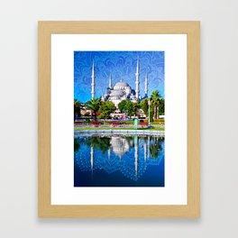 Blue mosque mandala Framed Art Print
