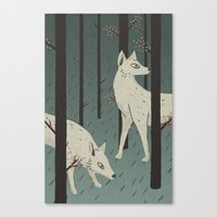 wolves Canvas Prints featuring Wolves by James White